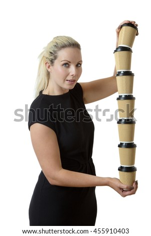 business woman carrying lots of coffee cup to her office colleagues - stock photo