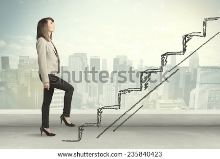 Business woman climbing up on hand drawn staircase concept on city background - stock photo