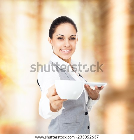 business woman coffee cup with steam, close up face happy smile businesswoman over brown background - stock photo
