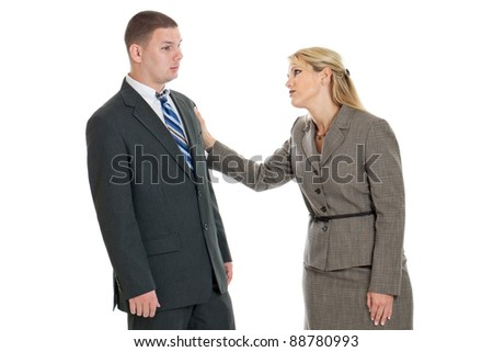 Business woman comforting a colleague isolated on a white background - stock photo