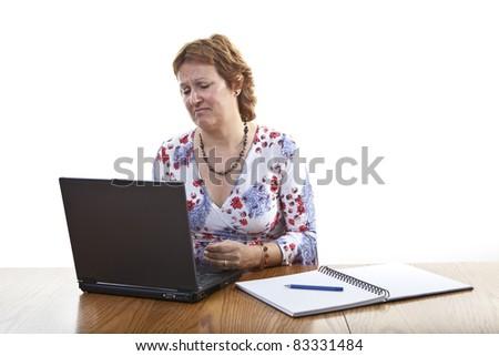 Business woman computer virus bug crash - stock photo