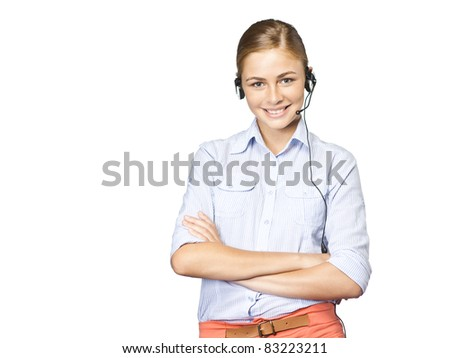 business woman consulting on hotline - stock photo