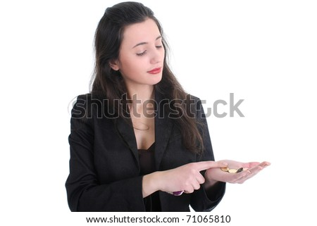 Business woman counts the money over white - stock photo