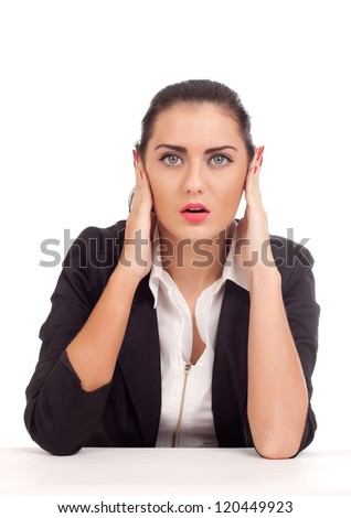 Business woman covering her ears - stock photo