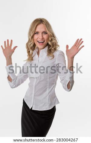 Business woman delighted by the success. Cute girl in business attire. Lady thrilled. - stock photo