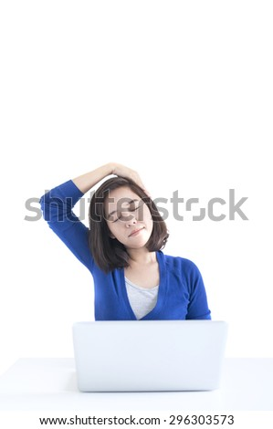 Business woman do stretch with laptop in front isolated over white background. - stock photo
