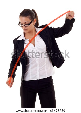 Business woman drawing a graph - crisis , over white - stock photo