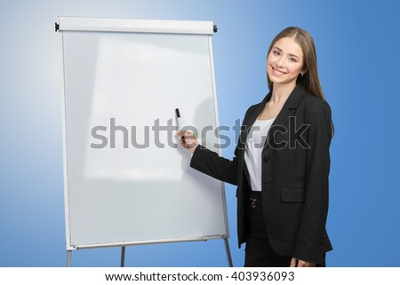 business woman explain at the whiteboard - stock photo