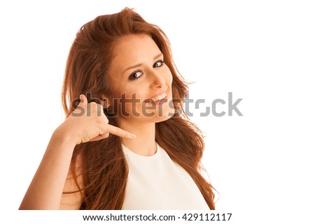 business woman gesturing call me sign with her hand isolated over white background. - stock photo