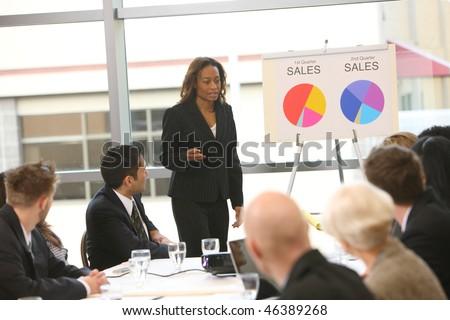 Business woman giving presentation - stock photo