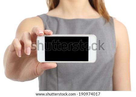 Business woman hand displaying a blank smart phone screen isolated on a white background           - stock photo