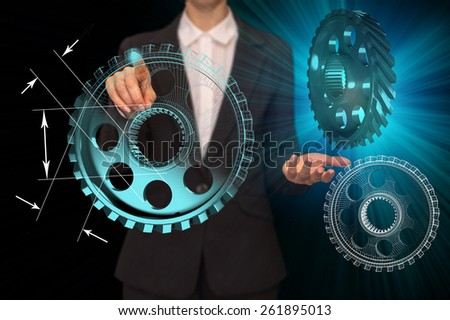 business woman hand draws gear to success concept - stock photo