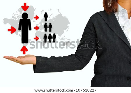 Business Woman Hand Hold Key Person for Business - stock photo