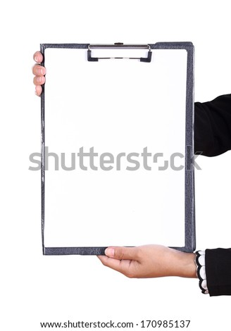 business woman hand holding blank clipboard isolated on white - stock photo