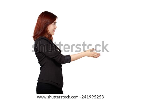 business woman handshake gesturing, isolated on white. Concept of leadership and cooperation - stock photo