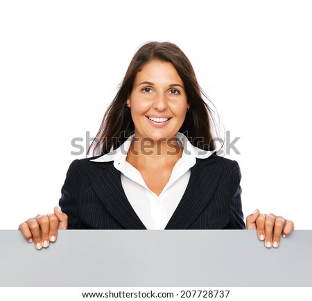 Business woman happy cheerful smiling presenting empty copy space sign.    Isolated on a white background. - stock photo