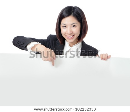 Business woman happy showing blank billboard isolated on white background, model is a asian - stock photo