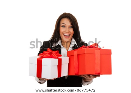 Business woman happy smile hold two gift box in hands. Isolated over white background. - stock photo