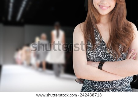 business woman has fashion show background  - stock photo