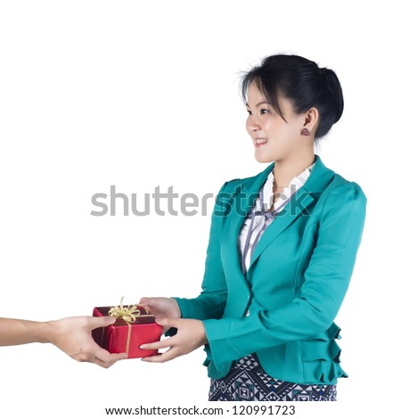 Business woman have a present isolated over white background. Model is Asian woman. - stock photo