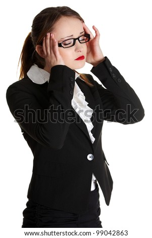 Business woman heaving headache,isolated on white. - stock photo