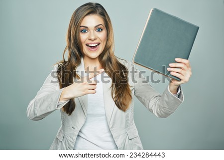 business woman hold book isolated studio background. - stock photo