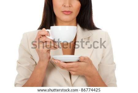 business woman hold cup of coffee - stock photo
