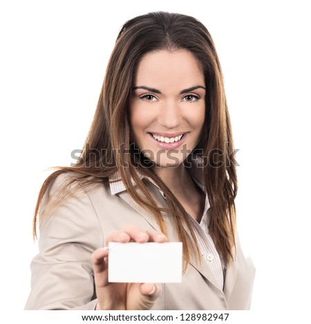 business woman holding a blank business card over white background - stock photo