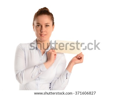 Business woman holding a blank card. Isolated on white background - stock photo
