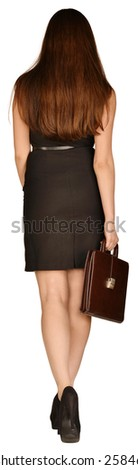 business woman holding a briefcase in his hand. standing back ago. - stock photo