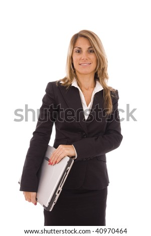 Business woman holding a computer isolated on white - stock photo