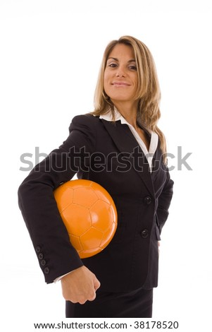 Business woman holding a orange ball isolated on a white background - stock photo