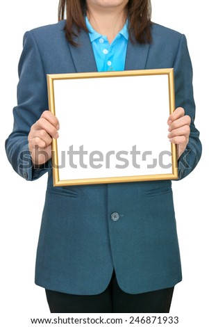 Business woman holding blank white board - stock photo