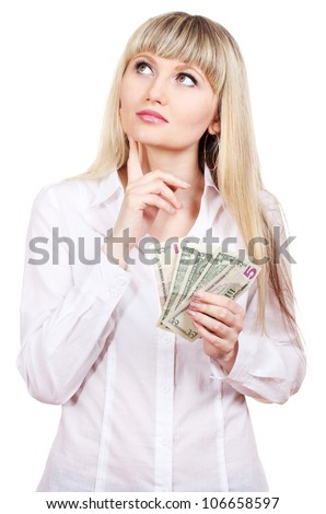 Business woman holding money isolated on white - stock photo