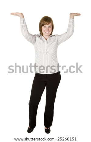 Business woman holding or lifting something above her head - stock photo