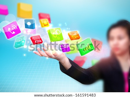 Business woman holding social media icon  - stock photo