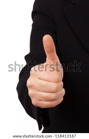 Business woman in dark suit with hand thumb up sign, isolated on white background. - stock photo