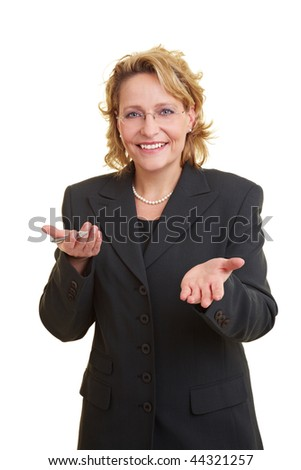 Business woman in grey jacket giving a speech - stock photo