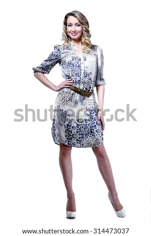 business  woman in official  printed dress isolated on white - stock photo