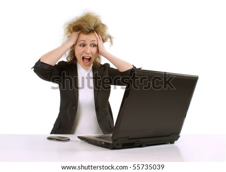 business woman in panic - stock photo