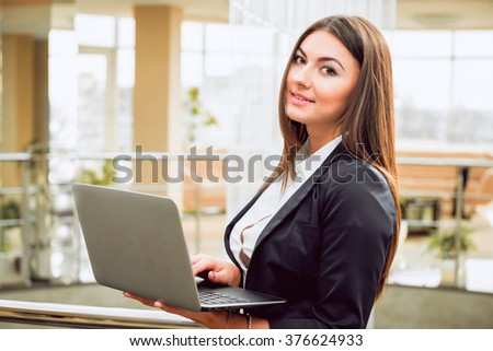 Business woman in the office. Worker - stock photo