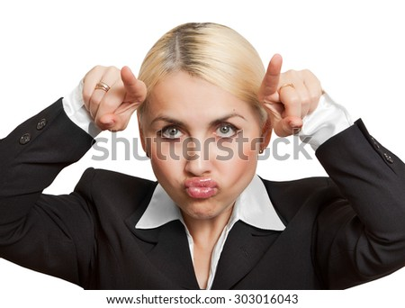 Business woman is mad - stock photo