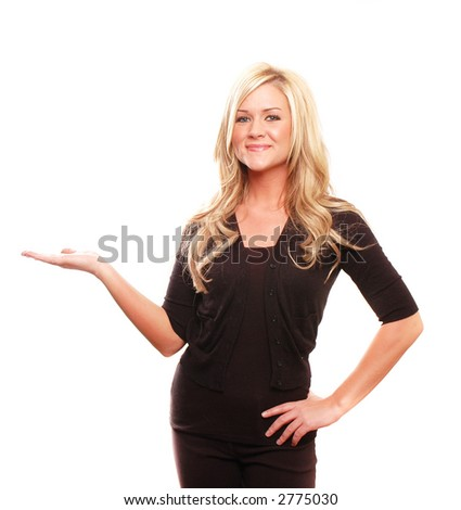 business woman is showing something in her hands - stock photo