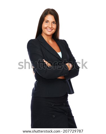 Business woman is smiling cheerful looking into the camera.   Isolated on a white background.  - stock photo