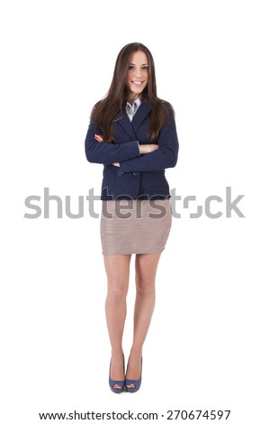 business woman isolated on white - stock photo