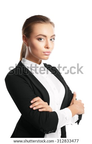 Business woman, isolated on white background. crossed arms - stock photo