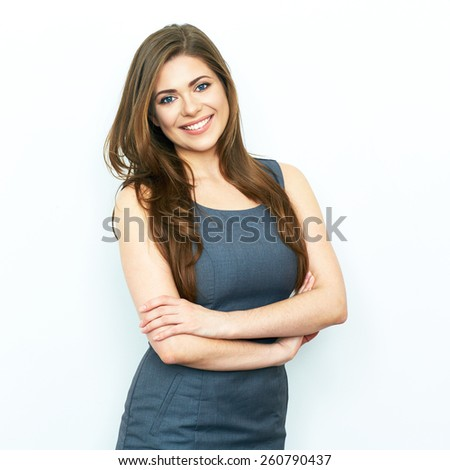 Business Woman isolated portrait with crossed arms. Toothy smiling model. - stock photo