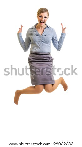 Business woman jumping with happiness isolated on white - stock photo