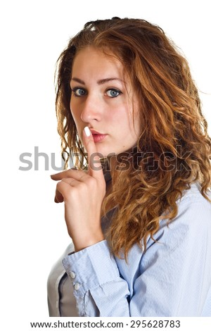Business woman keeping it secret over a white background. - stock photo