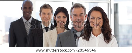 Business woman leading a young  business team - stock photo